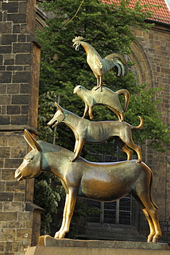 Statue 'Bremen Musicians', donkey, dog, cat and rooster, old town, Bremen, Germany