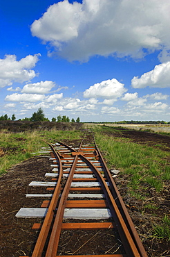 Rails for peat extraction, Goldenstedter Moor, Lower Saxony, Germany