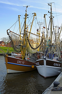 Shrimp boats, harbour, Greetsiel, Lower Saxony, Germany