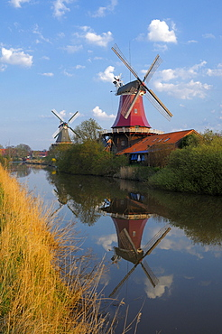 Twin windmill, Greetsiel, Lower Saxony, Germany
