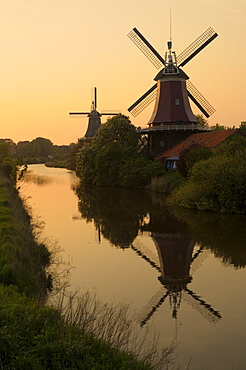 Twin windmills, Greetsiel, Lower Saxony, Germany