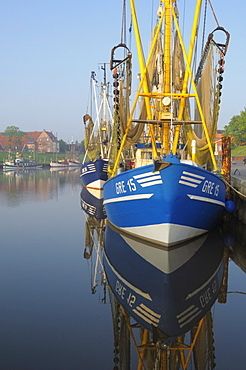Shrimp boat in harbour, Greetsiel, Lower Saxony, Germany