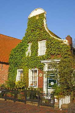 Houses at dyke, Greetsiel, Lower Saxony, Germany