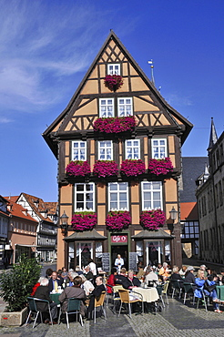 Half-timbered house, market place, Am Hoken, Quedlinburg, Harz, Saxony-Anhalt, Germany