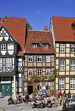 Half-timbered houses, Am Finkenherd, Quedlinburg, Harz, Saxony-Anhalt, Germany