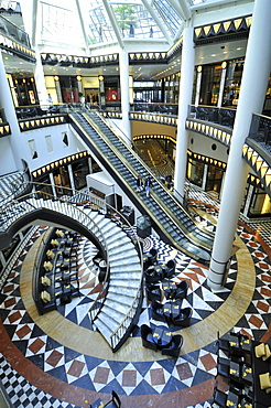Marble, escalator, stairs, inner courtyard, atrium, shopping mall, Quartier 206, Friedrichstrasse, Mitte, Berlin, Germany