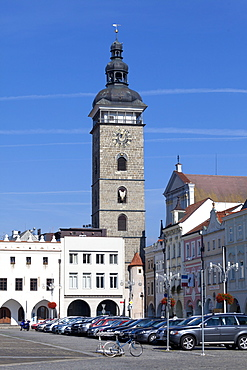 Black Tower, historic old town, Ceske Budejovice, South Bohemia, Czechia / Budweis