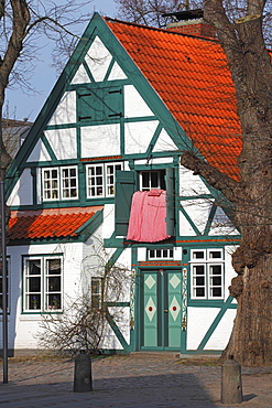 Historical ropemaker house, built 1758, with tea room, Schleswig-Holstein, Germany