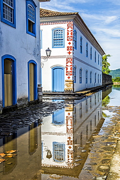 Flooded street of Paraty at high tide, Rio de Janeiro state, Brazil