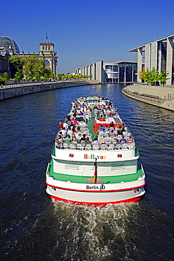 Passenger boat on Spree River, Government District, Reichstag building, Berlin, Germany