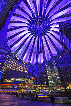 Central forum with roof of Sony Center, Potsdamer Platz, Mitte, Berlin, Berlin, Germany, Europe