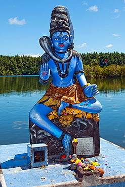 Shiva, God of Hindis, Holy Hindu Lake Ganga Talao, Grand Bassin, Mauritius, Africa, Indian Ocean / Ganga Talao
