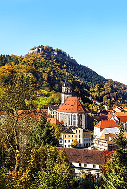 View over village Koenigstein to castle Koenigstein, Saxon Swiss, Germany / El