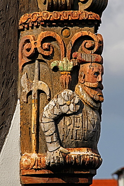 Ornate carving on corner post of half-timbered house, Old Town of Kronberg im Taunus, Hesse, Germany