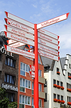 signposts, sign post, waterside promenade, Cologne, Koeln, Rhineland, North Rhine-Westphalia, Germany / Köln