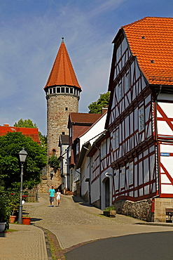tower of the city wall, half-timbered house, Spangenberg, Schwalm-Eder district, Hesse, Germany