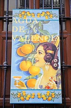 Agua de Valencia, advertising poster for a typical cocktail, Valencia, Valencian Community, Spain, Europe