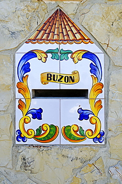 buzon, Tiled mailbox, letter box, Valencia, Valencian Community, Spain, Europe