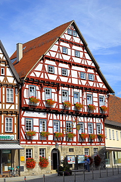 Old Town, half-timbered houses, Bad Urach, Swabian Alb, Baden-Wuerttemberg, Germany