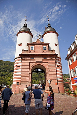Old Bridge gate in Heidelberg, Baden-Wuerttemberg, Germany