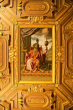 golden ceiling with painting, city palace Munich Residenz, Munich, Bavaria, Germany