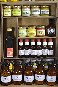 Different tinctures, ointments, tea herb's
