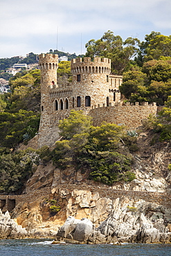 Castle, coast, Lloret de Mar, Costa Brava, Catalonia, Spain