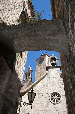 Holy Spirit Church, clock tower and church of Saint Rock, Old town, Omis, Split-Dalmatia, Dalmatia, Croatia / Adriatic Sea, church of Holy Ghost, Sveti Duha, Sveti Roka