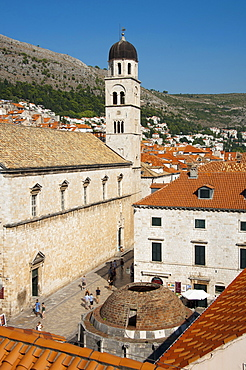 Franciscan Monastery, View from the city wall across historic town, old town, Dubrovnik, Dalmatia, Croatia / Big Onofrio fountain