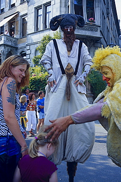 People in costumes at festival 'Seenachtsfest', Constance, Lake Constance, Baden-Wurttemberg, Germany / Konstanz