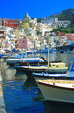 Fishing harbour, Corricella, Procida, Bay of Naples, Campania, Italy