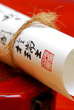Calligraphy, paper roll with japanese ideographs / characters
