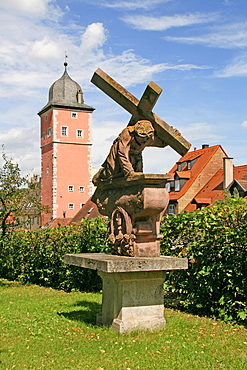 Statue of Jesus Christus, town wall, Klingentor, Ochsenfurt, Bavaria, Germany / way of the cross