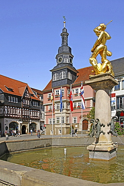Market square, town hall, market fountain, designed by Hans Leonardt 1549, St George, patron saint of Eisenach, Eisenach, Thuringia, Germany