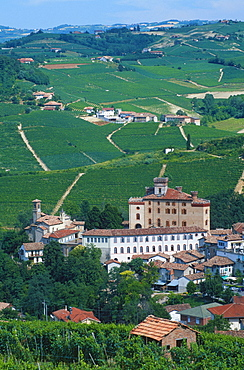 View on Barolo and vineyards, Piemont, Italy