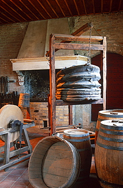 Exhibition in wine museum at castle Grinzane Cavour, Piemont, Italy