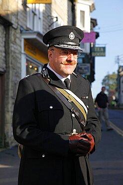 Reenacter in black WWII uniform, Pickering, North Yorkshire, Yorkshire, England, United Kingdom, Europe