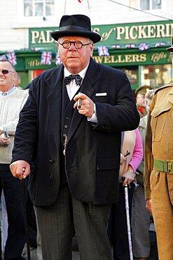 Winston Churchill lookalike, Pickering, North Yorkshire, Yorkshire, England, United Kingdom, Europe