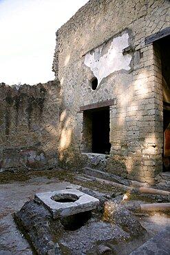 Ancient Roman street toilet, Herculaneum, UNESCO World Heritage Site, Naples, Campania, Italy, Europe