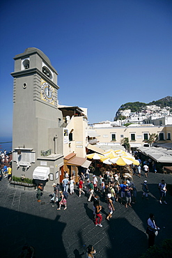 Clock Tower at Piazza Umberto I (La Piazzetta), Capri, Campania, Italy, Europe