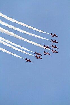 Nine Hawk T1 Jets Red Arrows, Waddington, Lincolnshire, England, United Kingdom, Europe