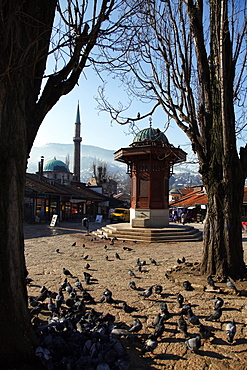 Sebilj Fountain and Emperor's Mosque (Careva Dzamija), Sarajevo, Bosnia, Bosnia and Herzegovina, Europe