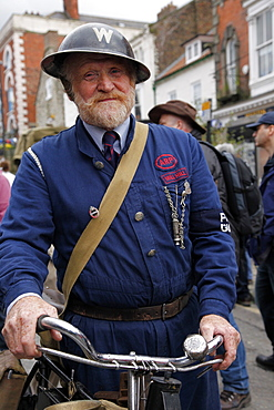 Man dressed as 1940s ARP Warden, Pickering, North Yorkshire, Yorkshire, England, United Kingdom, Europe