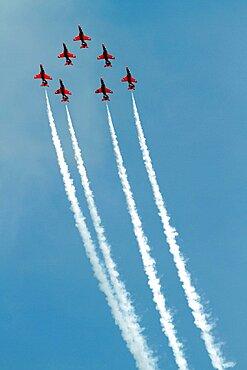 Red Arrows Aerobatic Display, South Bay, Scarborough, North Yorkshire, England, United Kingdom, Europe