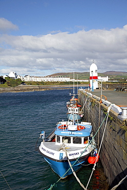 Fishing boats and Lighthouse, Isle of Man, British Isles, Europe
