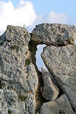 Stones of Ggantija Megalithic Temples, UNESCO World Heritage Site, Gozo, Malta, Europe