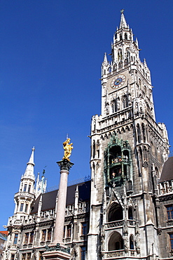 The Glockenspiel and gold Virgin Mary, Munich, Bavaria, Germany, Europe