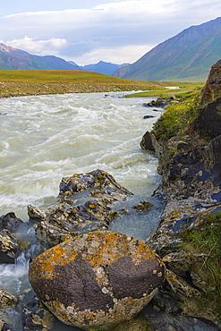 River flowing on rocks, Naryn Gorge, Naryn Region, Kyrgyzstan, Central Asia, Asia