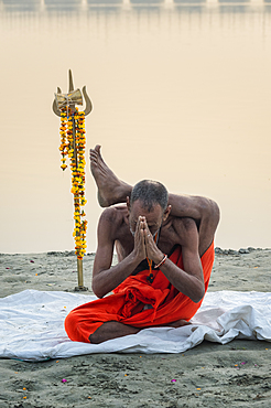 Sadhu practising yoga at sunrise on Ganges riverbank, Allahabad Kumbh Mela, Allahabad, Uttar Pradesh, India, Asia