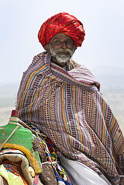 Man of the Dhebariya Rabari community in traditional cloth with a dromedary, Great Rann of Kutch Desert, Gujarat, India, Asia